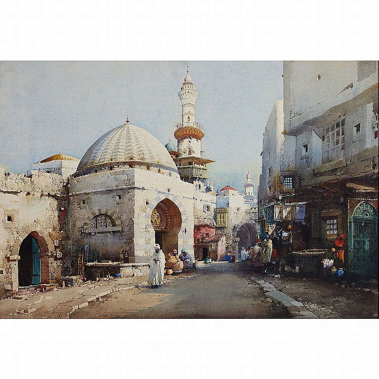 """Noel Harry Leaver (1889-1951),British A STREET IN TUNISIA (CAIRO STREET); Watercolor on Whatman's watercolour sketching board; signed lower left, titled twice verso14"""" x 20.25"""" - 35.6 x 51.4 cm.Provenance: The Robert Simpson Company Limted, Canada in"""