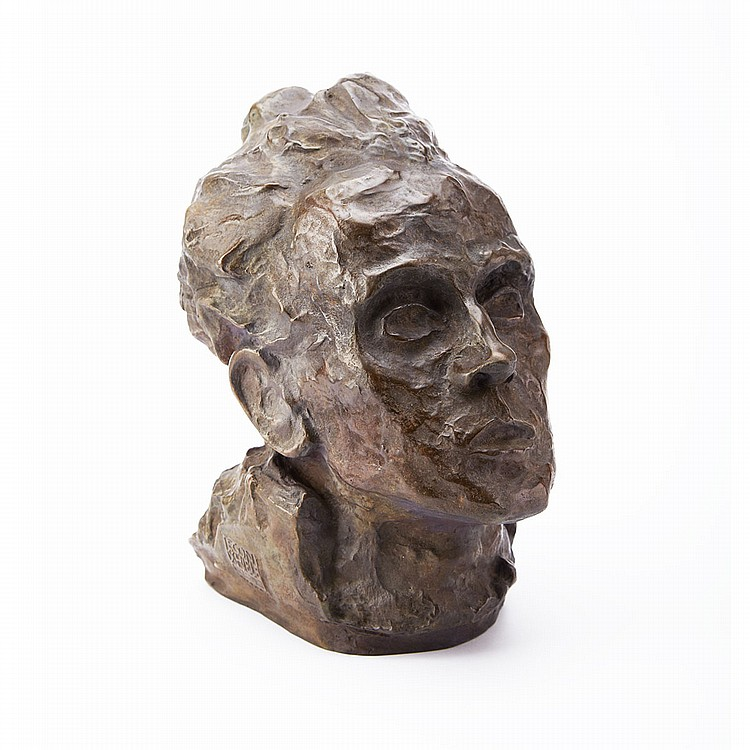 Egon Schiele (1890-1918), Austrian SELBSTBILDNIS, 1917 [KALLIR 4F]; Bronze; stamped signature and numbered 141/300 with copyright 1980 in the cast. Posthumous edition.Height approximately height 11.5