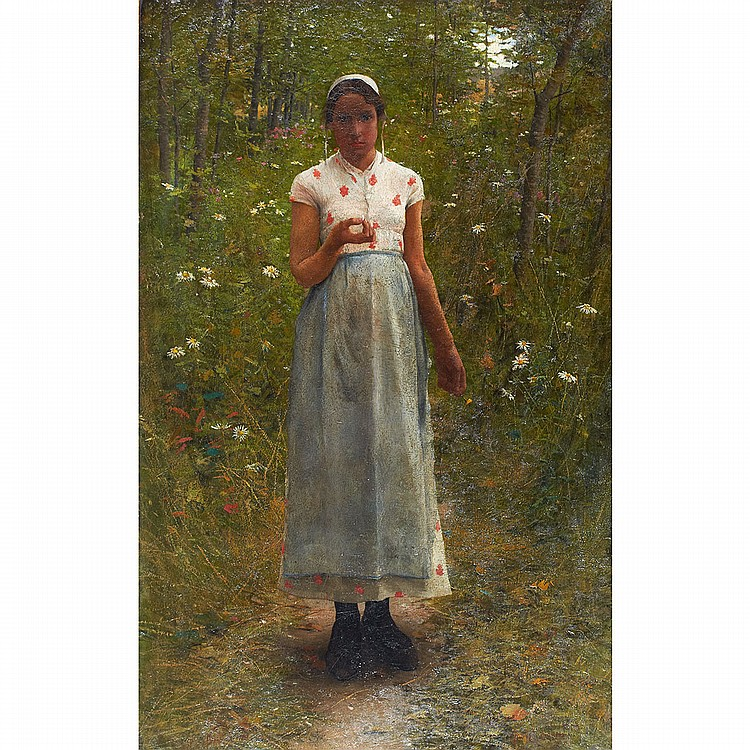 George W. Chambers (1857-1897), American GIRL WITH FLOWER: BILO KEIR, THE ARTIST'S WIFE; Oil on canvas; signed lower right, dated indistinctly 1893 at Kirkwood, MI lower left44