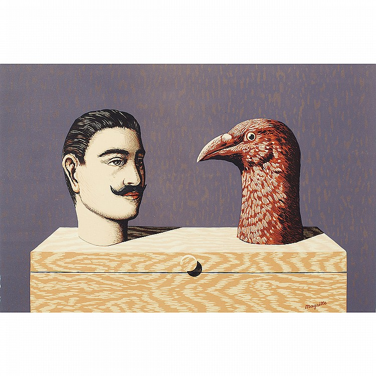 After Rene Margritte (1898-1967), Belgian PIERRERIES (FROM LES ENFANTS TROUVES), 1968; Colour lithograph; signed
