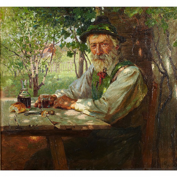 Hermann Hartwich (1853-1926), German/American RESTING IN A SUNLIT GARDEN; Oil on canvas; signed lower left27.5