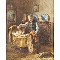 """Henricus Johannes Melis (1845-1923), Dutch GRANDFATHER AND HIS DOG PLAYING WITH BABY; Watercolour; signed lower left20"""" x 15.25"""" - 50.8 x 38.7 cm."""