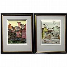 """LESLIE COPPOLD (CANADIAN, 1914-2007), HOUSES; CROUQET, PAIR OF WATERCOLOURS; IEACH SIGNED LOWER RIGHT; TITLED TO ARTIST LABELS VERSO (Each sight, 6.3"""" x 5"""")"""