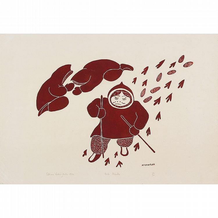 AGNES NANOGAK (1925-), W2-473, Holman BIRD TRACKS,