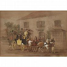 """WILLIAM HENRY WHEELWRIGHT (1857-1897), BRITISHLOADING THE COACH, 1870Watercolour heightened with white on paper; signed and dated 1870 lower rightSheet sight 8.75"""" x 12.5"""" — 22.2 x 31.8 cm.Estimate: $200—400"""