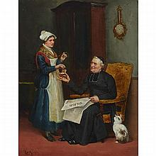 """LUDOVIC (LOUIS HIPPOLYTE) MOUCHOT (1846-1893), FRENCHCLERGYMAN READING THE GIL BLAS AND REACHING FOR A PINCH FROM HIS SNUFF BOXOil on panel; signed lower left15.5"""" x 12.25"""" — 39.4 x 31.1 cm.Estimate: $700—900"""