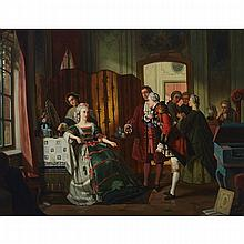 """ATTRIBUTED TO JEAN CAROLUS (1814-1897), BELGIANTHE RECEPTION, 1865Oil on canvas; bears signature """"Paul Gerard"""" and dated indistinctly """"65"""" lower right, given to """"J. Carolus"""" and titled to a copy of the accompanying original receipt29"""" x"""