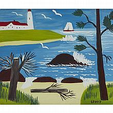 MAUD LEWIS, LIGHTHOUSE AND YACHT, 11.75 x 14 in — 29.8 x 35.6 cm