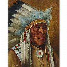 FATHER HENRY METZGER, CHIEF RED DOG, PILE HILL RESERVE, QU'APPELLE VALLEY, SASK., C. 1928, oil on canvas, 15 ins x 12 ins; 38.1 cms x 30.5 cms