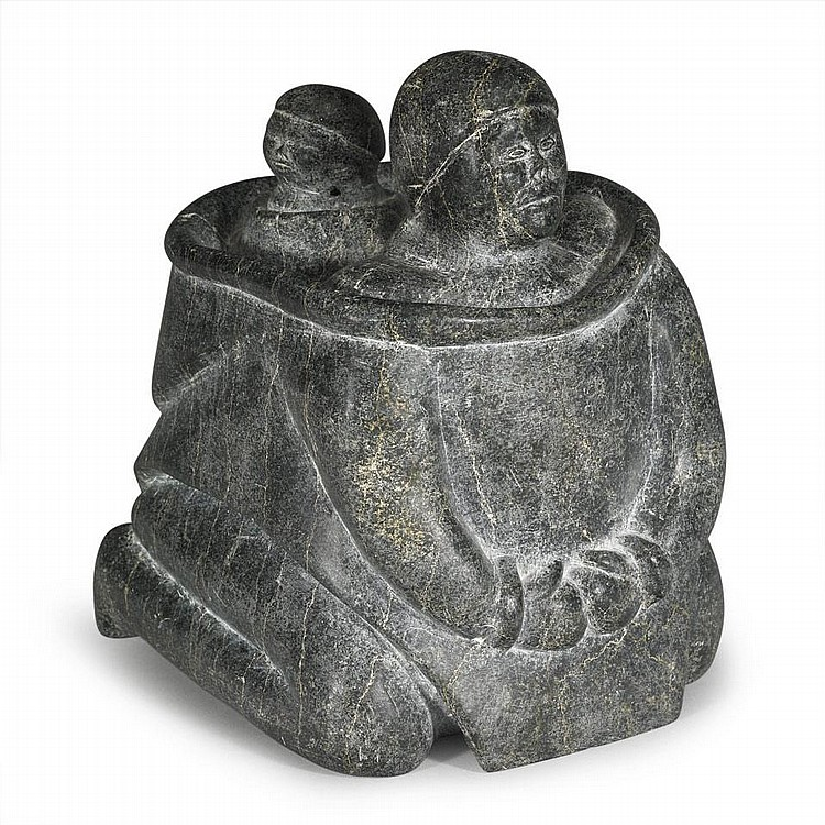 TIMOTHY KUTCHAKA (1924-), MOTHER AND CHILD, stone, 9