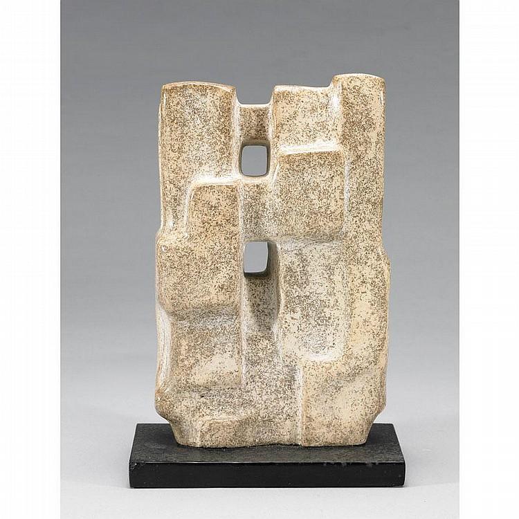 JACK BEDER BRIDGED FORM, marble sculpture; signed