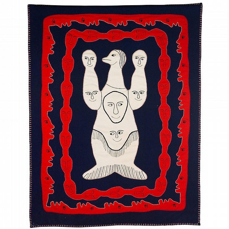 IRENE AVAALAAQIAQ TIKTAALAAQ (1941-), UNTITLED, stroud, thread, embroidery floss, 78