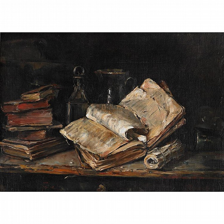 Hendrik (Henk) Jan ten Cate (1867-1955), Dutch STILL LIFE OF ANTIQUARIAN BOOKS AND VESSELS ON A LEDGE; Oil on canvas laid down on panel; signed with adjoined signature lower left18
