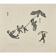 "KELLYPALIK MANGITAK, CAPTURING A POWERFUL BIRD, stonecut (framed), 21.25"" x 24"" — 54 x 61 cm."