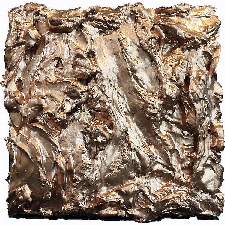 MARK GLEBERZON, COP-ORE, acrylic and copper spray paint on panel, 6 ins x 6 ins x 1.5 ins; 15.2 cms x 15.2 cms x 3.8 cms
