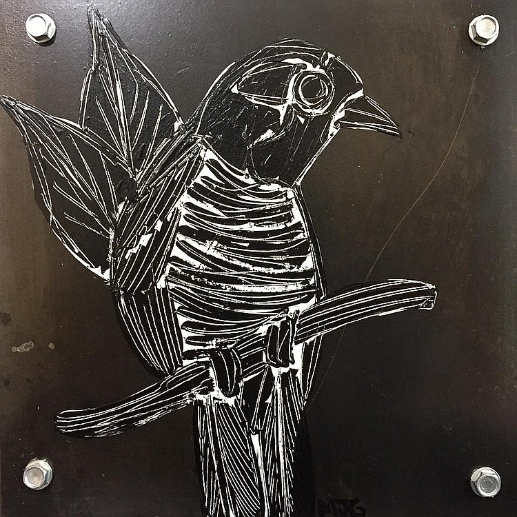MARK GLEBERZON, LITTLE BIRD, acrylic and steel on panel, 6 ins x 6 ins x 1.5 ins; 15.2 cms x 15.2 cms x 3.8 cms