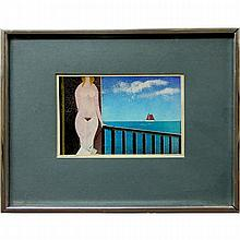 """A. LEHMANN (20TH CENTURY), VACATION MEMORIES, MIXED MEDIA PAPER COLLAGE; TITLED LOWER LEFT; SIGNED LOWER RIGHT (Sight, 4.5"""" x 7"""")"""