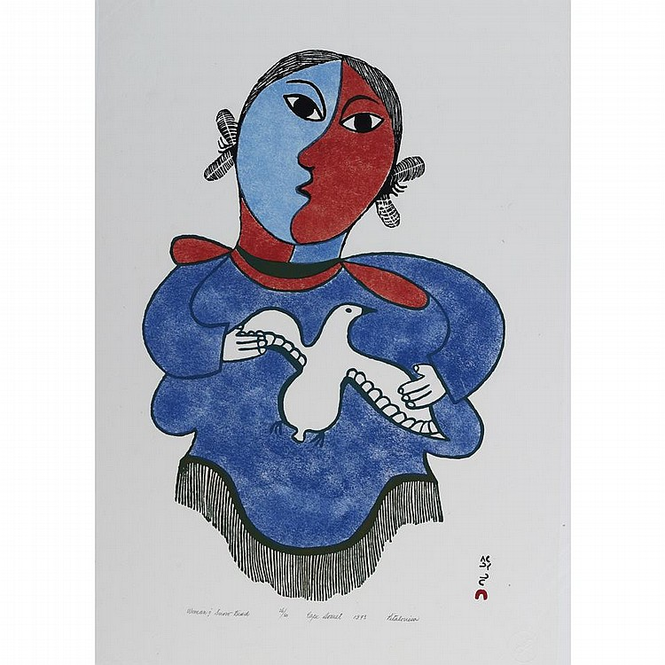 PITALOOSIE SAILA (1942-), E7-1006, Cape DorsetWOMAN AND SNOW BIRD, stonecut and stencil, 1973, 26/50, unframed, 24.25