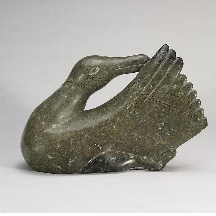 JOANASSIE IGIU (1923-1981), E7-981, Cape DorsetPREENING BIRD, stone, signed syllabics, 11