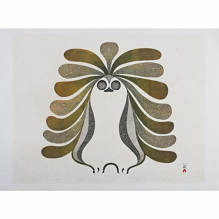 PITALOOSIE SAILA (1942-), E7-1006, Cape DorsetOWLS OF KEATUK, stonecut and stencil, 1984, 29/50, unframed, 24.5