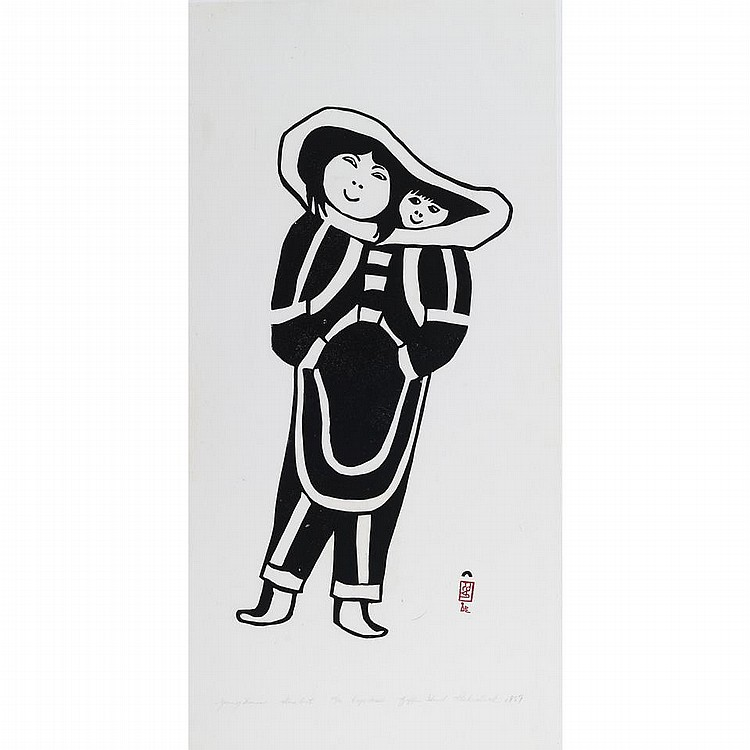 SHEKOALOAK (1940-1959), Cape DorsetYOUNG WOMAN, stonecut, 1959, 45/50, unframed, 24