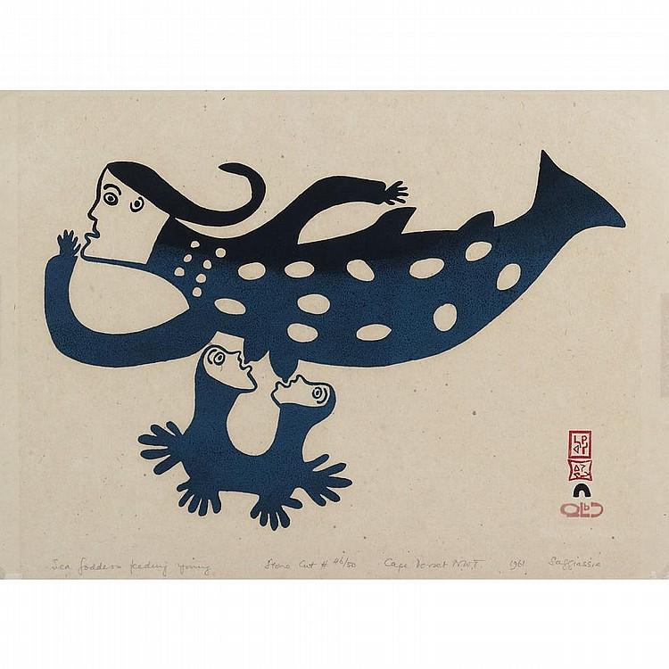SAKIASSIE RAGEE (1924-), E7-1195, Cape DorsetSEA GODDESS FEEDING YOUNG, stonecut, 1961, 46/50, unframed, 12.25