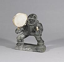"PAUL AALUK (1950-), E4-549, Gjoa HavenDRUM DANCER, stone, hide, bone, signed in syllabics, 10"" x 8"" x 5.25"" - 25.4 x 20.3 x 13.3 cm."