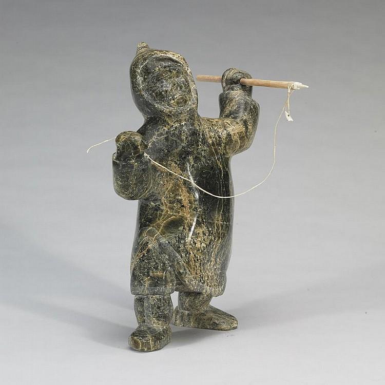 TOWATUGA SAGOUK (1934-), E7-826, IqaluitHUNTER WITH HARPOON, stone, wood, sinew, antler, signed in Roman, 13.25