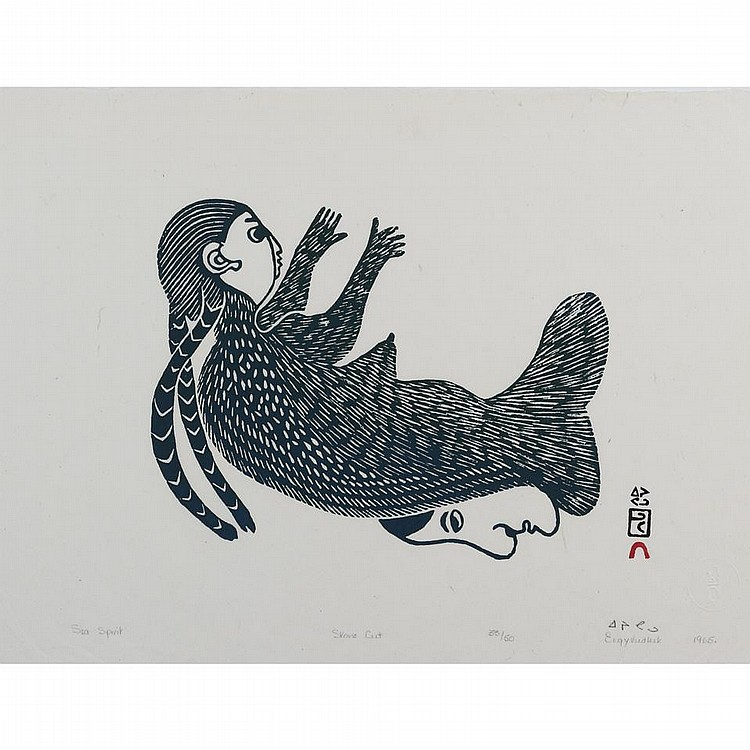 EEGYVUDLUK POOTOOGOOK (1931-), E7-865, Cape DorsetSEA SPIRIT, stonecut, 1965, 33/50, unframed, 12.5