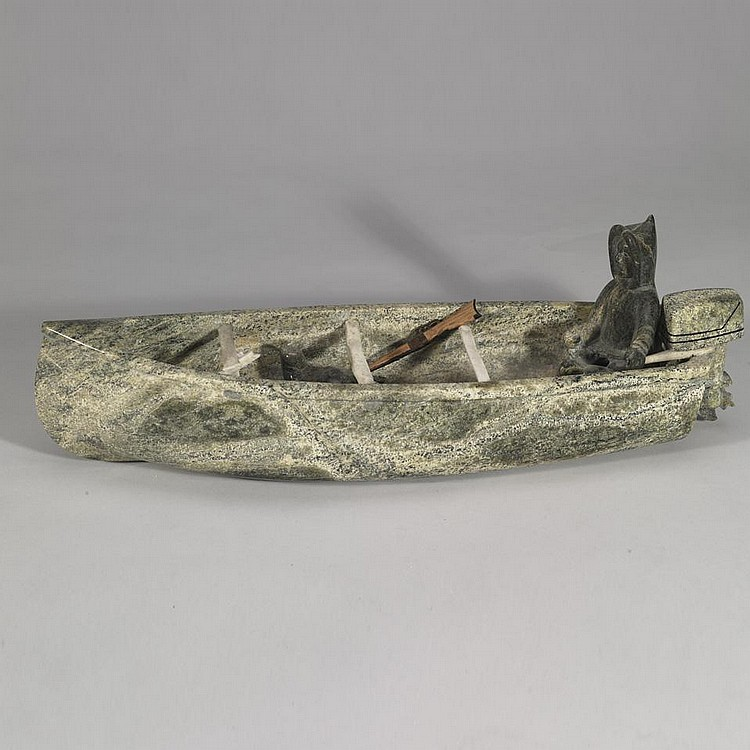 PAULASSIE POOTOOGOOK (1927-2006), E7-1176, Cape DorsetMAN IN BOAT WITH MOTOR AND IMPLEMENTS, stone, 5.75