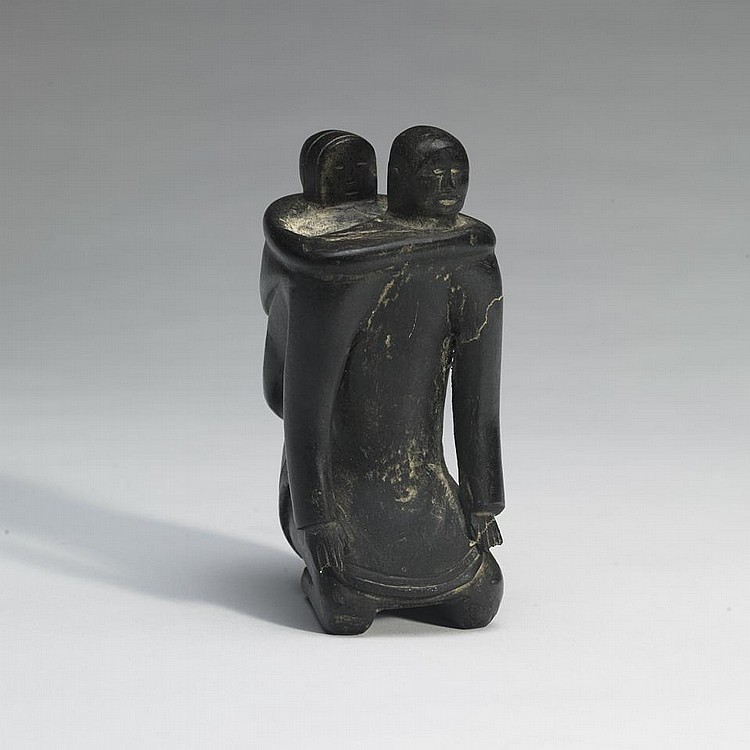 ATTR: YAHA ANGNAYUINAK (1907-1980), E1-475, ArviatMOTHER AND CHILD, stone, 7