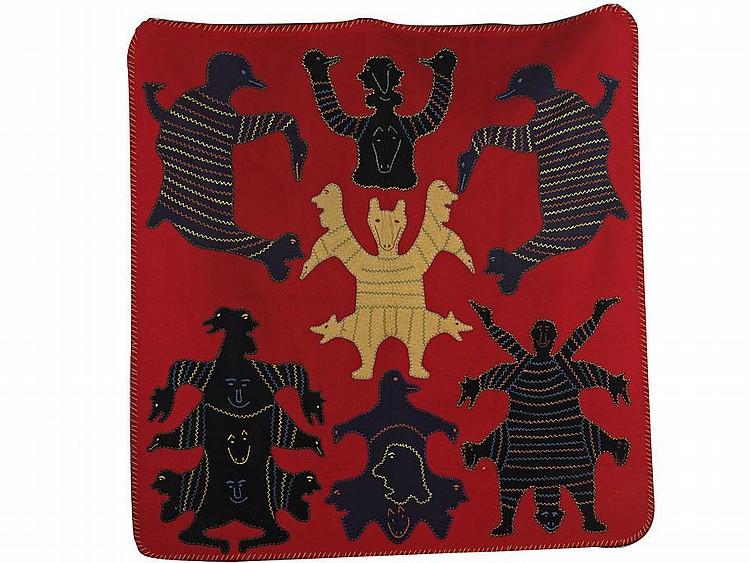 IRENE AVAALAAQIAQ TIKTAALAAQ (1941-), E2-423, Baker LakeSEASPIRITS, stroud, thread, embroidery floss, 52