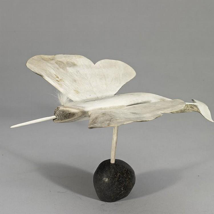NICK SIKKUARK (1943-), W1-209, Pelly BayWINGED NARWHAL SPIRIT, antler, 8