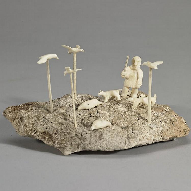 EMILY PANGNERK ILLUITOK (1943-), E3-378, Pelly BayHUNTING SCENE, ivory, bone, 4