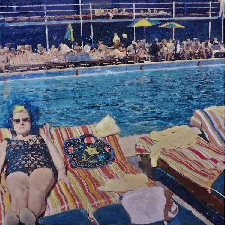 MARK GLEBERZON, LILY @ THE LIDO, mixed media photograph, 30 ins x 30 ins; 76.2 cms x 76.2 cms
