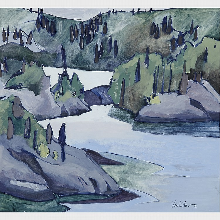 MARA KORKOLA, PORT SANFIELD, oil on paper, sight 19.5 ins x 21 ins; 49.5 cms x 53.3 cms