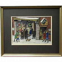 """MEYER RYSHPAN (CANADIAN, 1898-?), UNTITLED (A BUSY WINTER NIGHT), WATERCOLOUR; SIGNED AND DATED '34 LOWER RIGHT (Sight, 9.3"""" x 13.3"""")"""