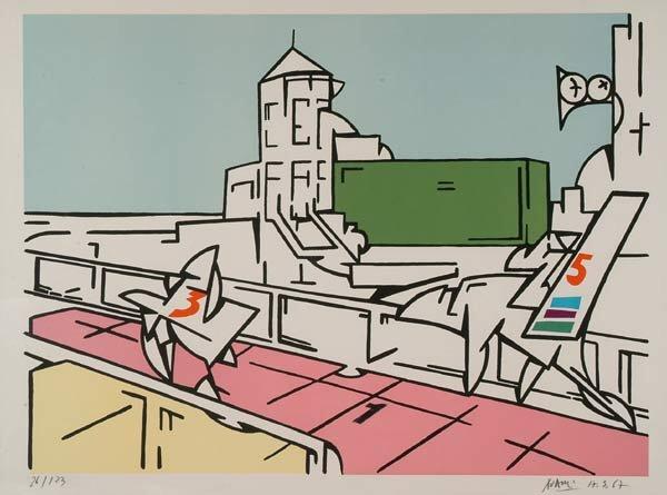 Prints Valerio Adami (1935- ), LONGCHAMP,