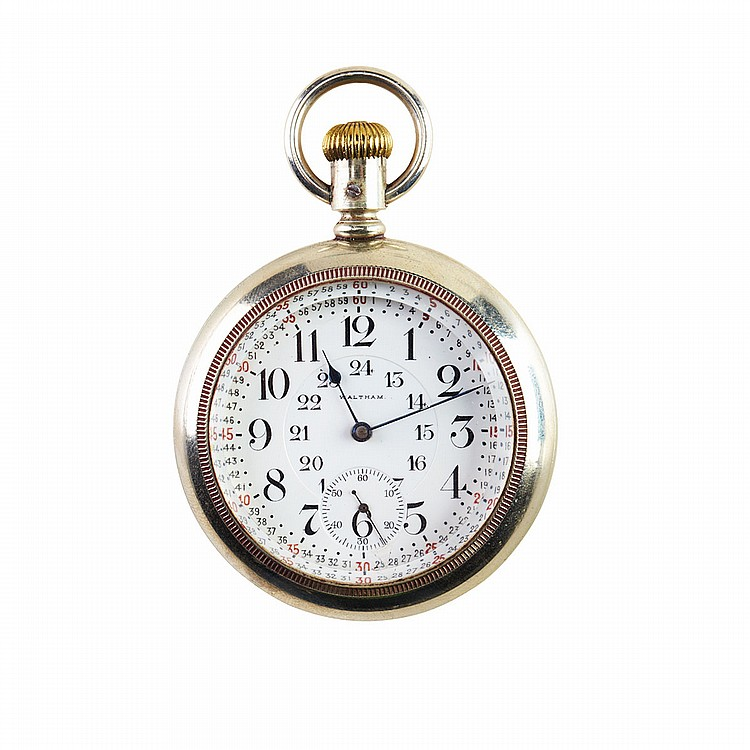 Waltham RailRoad Grade Pocket Watch circa 1895; serial #6999006; 18 size; 21 jewel Vanguard movement; Montgomery dial; in a silveroid case with gold overlay