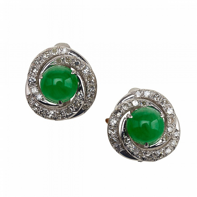 Pair Of 14k White Gold Earrings each set with 24 small single cut diamonds and a circular jadeite cabochon (8.8mm diameter)