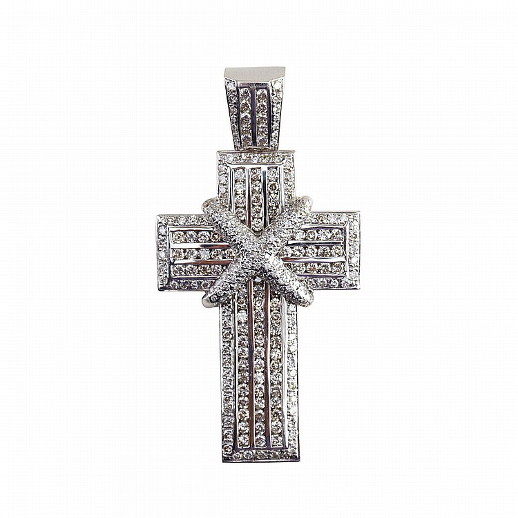 14k White Gold Cross Pendant set with 264 brilliant cut diamonds (approx. 5.50ct.t.w.), 30.6 grams, one small diamond missing