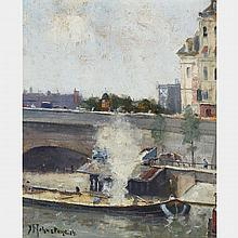 JOHN YOUNG JOHNSTONE, A.R.C.A., PARIS, 1914, oil on panel, 8.75 ins x 7.25 ins; 22.2 cms x 18.4 cms