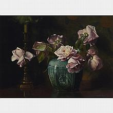 MARY HIESTER REID, O.S.A., A.R.C.A., STILL LIFE WITH FLOWERS, oil on canvas, 16.5 ins x 22 ins; 41.9 cms x 55.9 cms