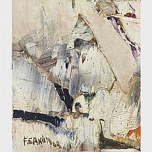 MARCELLE FERRON, R.C.A., SANS TITRE, oil on canvas, mounted to board, 9.5 ins x 8 ins; 24.1 cms x 20.3 cms