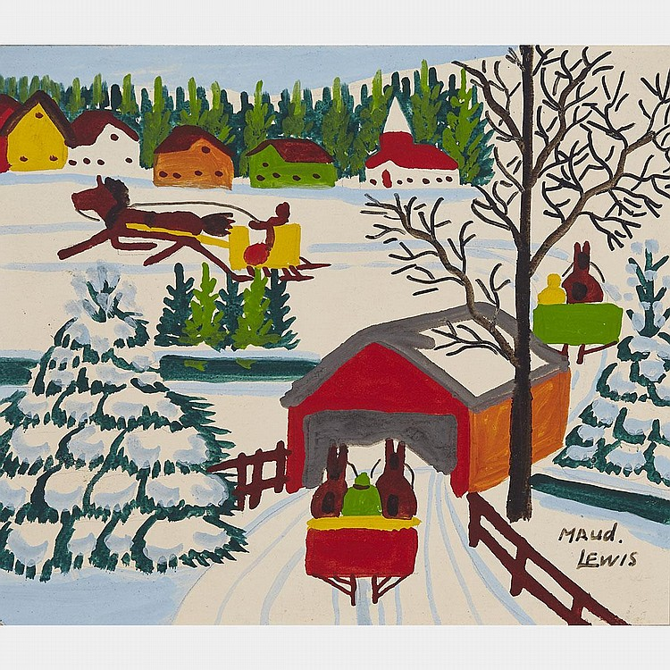 Maud lewis covered bridge oil on board 12 ins x 14 ins 3 Paintings that are worth a lot of money