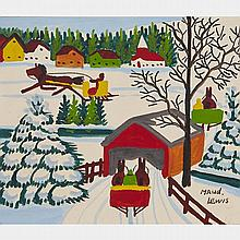 MAUD LEWIS, COVERED BRIDGE, oil on board, 12 ins x 14 ins; 30.5 cms x 35.6 cms