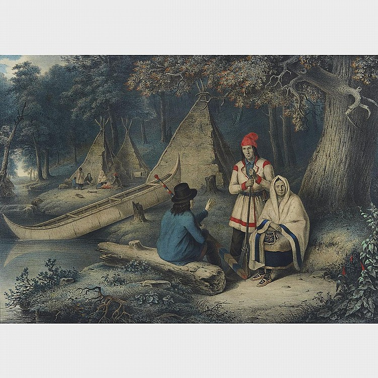 CORNELIUS KRIEGHOFF, FOUR LITHOGRAPHS: INDIAN WIGWAM IN LOWER CANADA; SLEDGE RACE NEAR MONTREAL; PLACE D'ARMES, MONTREAL; FRENCH CANADIAN HABITANTS PLAYING AT CARDS, lithographs, printed in colours and mounted to canvas, printed by A. Borum,