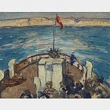 JAMES WILSON MORRICE, R.C.A., THE CROSSING, oil on panel, 5.25 ins x 6.75 ins; 13.3 cms x 17.1 cms