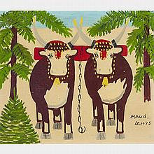 MAUD LEWIS, TEAM OF OXEN, oil on board, 12 ins x 14 ins; 30.5 cms x 35.6 cms
