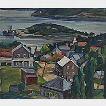 NORA FRANCES ELISABETH COLLYER, TADOUSSAC, P.Q., 1940, oil on panel, 12.25 ins x 14 ins; 31.1 cms x 35.6 cms